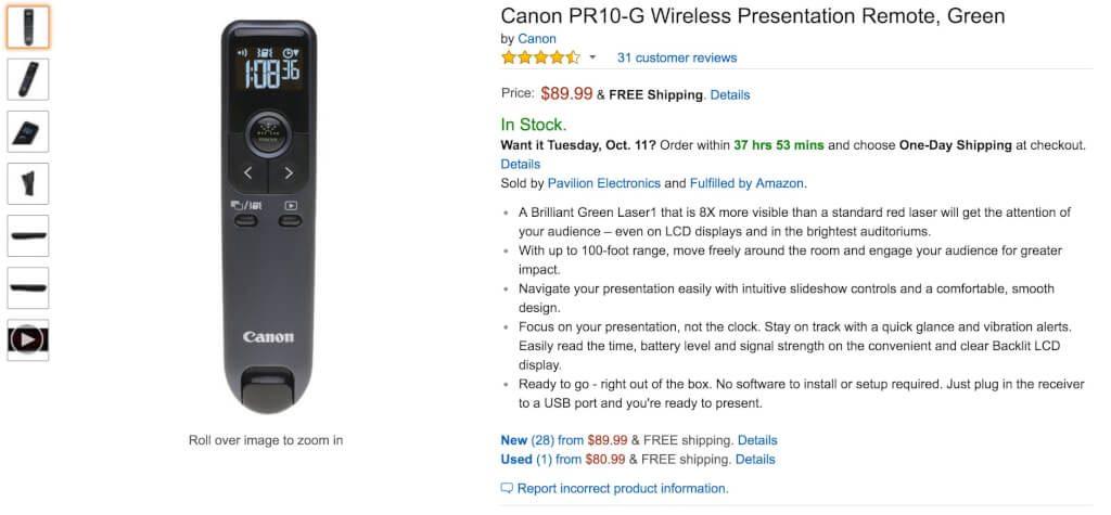 Canon PR10 G Wireless Presentation Remote Green