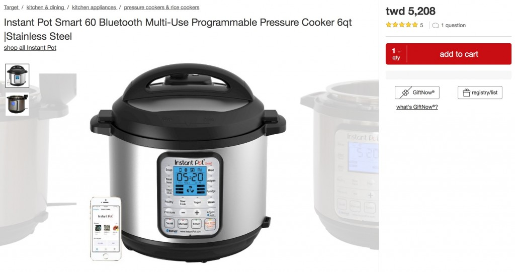Instant Pot Smart 60 Bluetooth Multi-Use Programmable Pressure Cooker 6qt